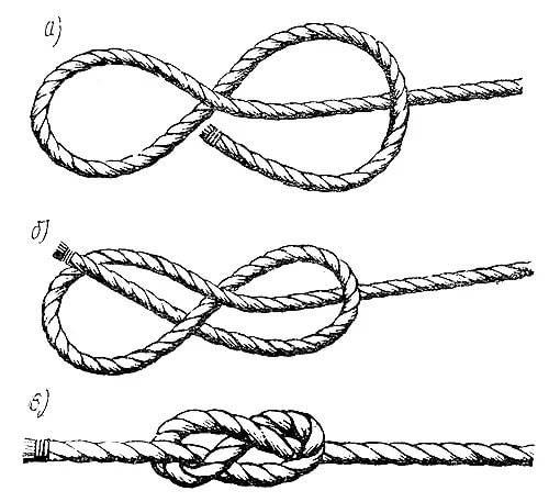 Как завязать морской узел схема