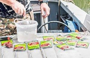 Применение активатора клева Фиш Хангри в прикормке для рыбы