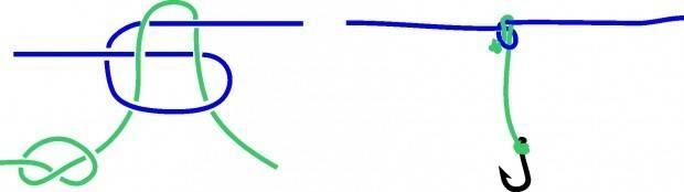 Как привязать два крючка на удочку