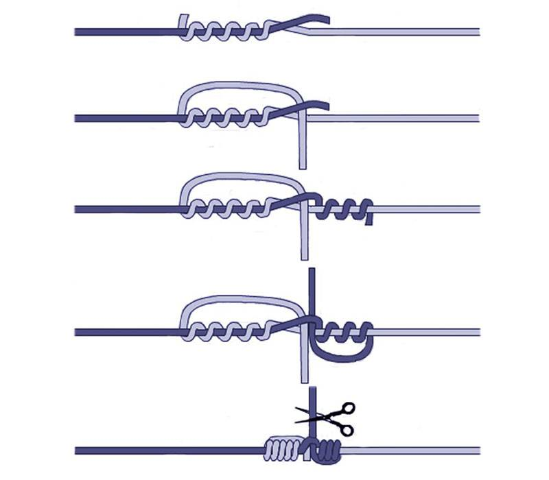 Как связать две лески между собой