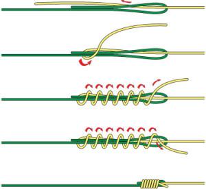 Как связать два шнура рыболовных