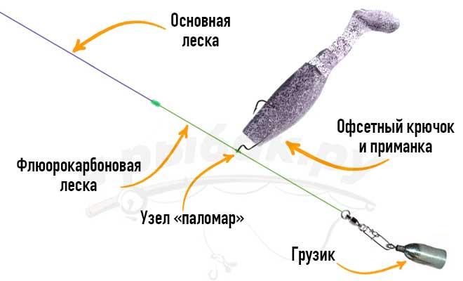 Оснастка на окуня дроп шот
